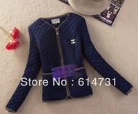 NEW COLOR  NAVY BLUE Women vintage coat Spring tops gold buckle epaulette pocket wadded jacket cotton-padded Free shipping