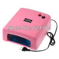 Pink UV Lamp 36W 220-240V Gel Curing Nail Art (EU Plug) with 4pcs 365nm UV Bulb Dropshipping