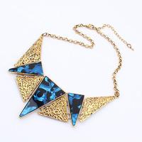 Popular fashion eco-friendly accessories fashion vintage triangle multicolour acrylic stone necklace