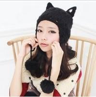 2013 New Brand Warm&Beautiful Winter Knitted Wool Hat Women's cat ear Lady pompon Beanie Hats Wholesale Free Shipping