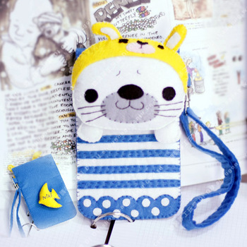 Handmade fabric diy not woven cloth material kit set blue seal baby mobile phone bag blue ocean