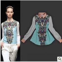 Wholesale&Retail Free Shipping 2013 spring fashion vintage cartoon print silk slim female shirt top shirt