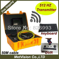 Plumbing detector with sewer pipe inspection camera system with 512HZ transmitter,keyboard and DVR, SD memory,50m cable