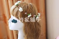 102548 FLOWER GARLAND/ARTIFCIAL GARLAND/FAKE FLOWER/HAIR BRIDAL/GIRL GARLAND/VALENTINE'S DAYS WREATHS/WEDDING FLOWER WREATH