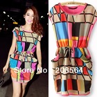 New Arrival Fashion Drawstring Multi Color Plaid Chiffon Geometric Dresses S/M/L Size  1128(China (Mainland))