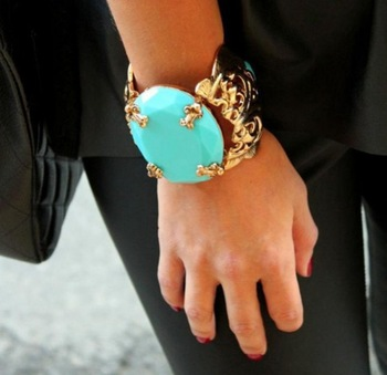 Min Order $18(Can Mix Item)Korean Version Popular Vintage Women Gold Turquoise Cuff Bracelet