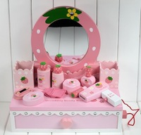 Mother garden strawberry pink Furniture dressages Play House Toys dressing table wooden girl toys set Wooden Educational Toys