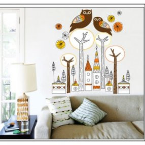 Free shipping Cute owl city background living room TV bedroom, children backdrop 3D Wall Stickers for kids' room decoration