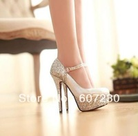 2013 Autumn Sexy thin heels white wedding pump shoes silver ultra high heels single shoes women's platform gold shoes 5 colors