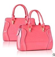 Free Shipping (1 pcs) 2013 Hot selling PU Leather Lady Women's Crocodile Pattern Handbag Tote  Bag
