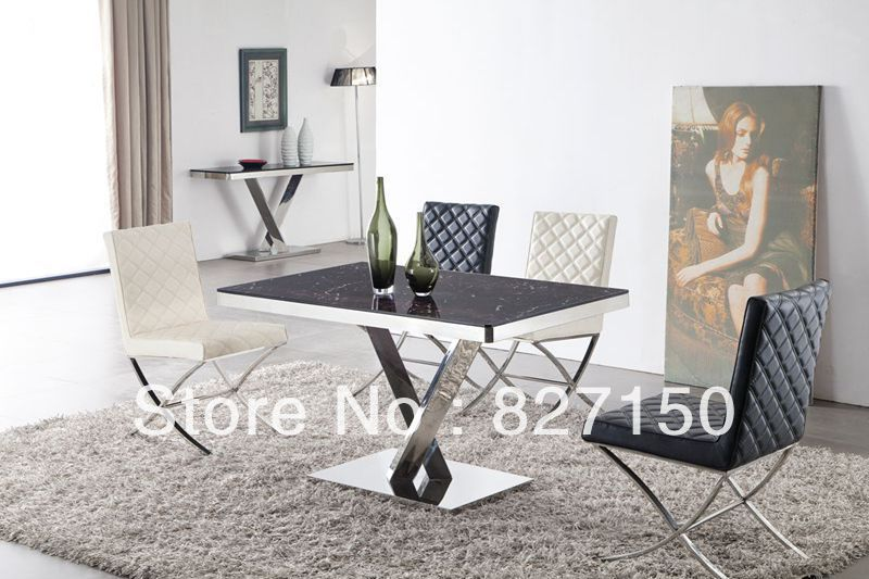 Free shipping 2013 new model dining table with stainless for Dining table latest model