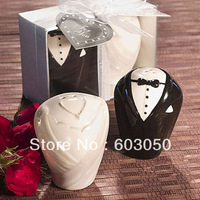 Free shipping 200pcs shaker=100set  2013 popular wedding gifts for guest bride and groom ceramic salt and pepper shaker