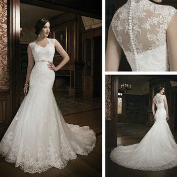 Lace Cap-sleeve Sweetheart Neckline Mermaid Designed Beading Crystal Belt Alibaba Wedding Dress