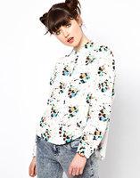 Free Shipping 2013 autumn casual fashion shirt small bee turn-down collar long-sleeve women's chiffon shirt