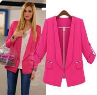 Spring 2014 New Fashion Brand Women High Street Style Solid Blazer  Plus Large Big Size Jacket Rose White Black Slim Coat 701