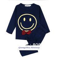 Brand New Bow Smile Face Printed Cotton Long Sleeve Sets Kids Sleepwear Pajamas Autumn Boys Girls 2 pieces set Child Pajama