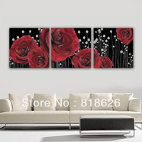 3 Panel Huge Unique Black Red Rose Canvas Painting Romantic Flowers Abstract Living Room Decor Wall Hanging Picture Art Pt588