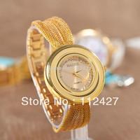 2015 New Woman Quartz watch Gold Band Watch With round watch dial Brand Women dress watch-JA011