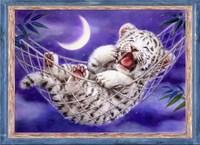 free shipping Cross stitch dmc kit hs-0132 cradle oil painting animal white tiger