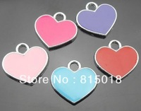 100pcs/lot mix color heart hang pendant charm diy alphabet charm