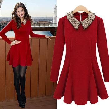 2013 autumn womens fashion trend long-sleeve paillette peter pan collar waist slim woolen one-piece dress