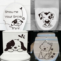 iShow K8   Wall stickers dog toilet stickers bathroom combination of paste real child cartoon decoration