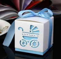 Free shipping 200pcs/lot Candy box BABY CARRIAGE with ribbons, Favor boxes, Wedding gift boxes, MG-08C Light blue