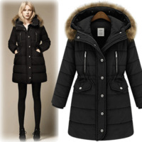 Winter 2013 wadded jacket women's fashion medium-long raccoon large fur collar thickening with a hood cotton-padded jacket