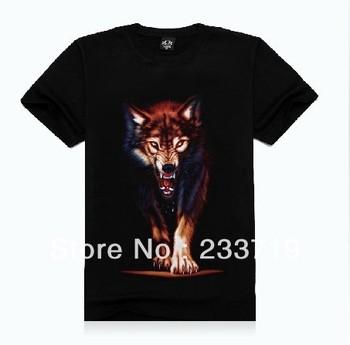 3d wolf print Men's t shirt short sleeve brand animal tops100% cotton S-XXL