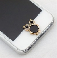 Min.Order $12(can mix) Cute Vintage Owl Charm phone Home Return Keys Buttons Sticker For iPhone 4S iPhone 5 iPod Touch iPad