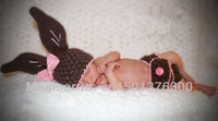 Free shipping cute rabbit baby hat and shots handmade crochet baby hat and shots photograhy props