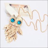 Min order is $10 Fashion necklace fashion design metal long tassel necklace owl 2523