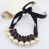 Min order is $10 Popular star all-match gentlewomen necklace ribbon elegant pearl necklace 5885