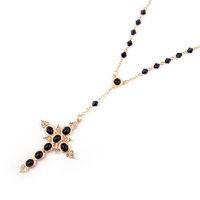 Min order is $10 For nec  klace long design sparkling rhinestone bead cross star necklace 7615