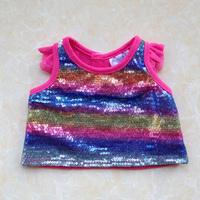 Build a bear duffy bear plush toy clothes colorful paillette t-shirt