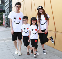 2013 smiley family fashion summer  clothes for mother and son set tendrils.