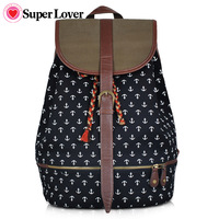 Free shipping Super lover preppy style unisex vintage print backpack