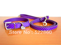 Collars&Leads Heart Charm new Dog leash Cat bling bling collar Rhinestone Crystal Pet Dog Puppy collars Pu Leather Diamond leash