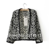 Free Shipping 2013 New Autumn Winter Korean Cardigan Sweaters Women Oracle Printing Long Sleeve Casual Loose Coat Sweater jz0838
