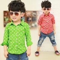 Beans 2013 children's autumn clothing dot tencel child shirt 5473