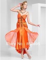 Orange Chiffon Spaghetti Short Cocktail Dresses Evening Dresses Party Dresses Pageant Dresses Custom Size 2-10-20 JLC817540