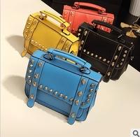 New Fashion Both sides of the skull handbag shoulder bags Korean Hobo PU Rivet Leather Handbag Shoulder Bag Large Capacity