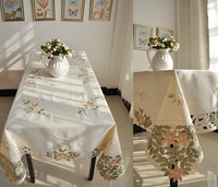 8390a measurement ! embroidered cutout rectangle dining table cloth table cloth towel cover