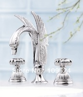 Free shipping CHROME CLOUR  3 PIECE ROMAN  SINK SWAN  FAUCET  BATHROOM SWAN  FAUCET
