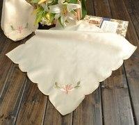 Brief silky embroidered big table napkin wine glass 40x40cm !