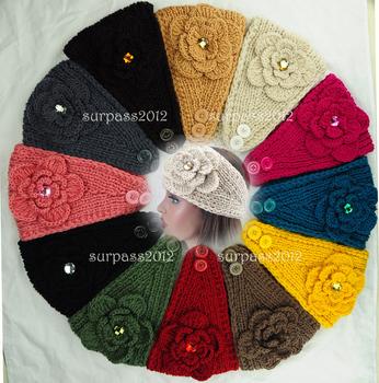 New Fashion Women Big Size Headband Knit Headband Cysta Crochet Hairband Adjustable Two Buttons Headwrap Lady Hat 12  colors