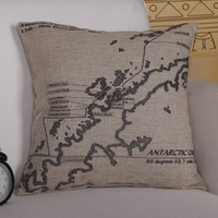 Quality Linen/Cotton Throw Pillow Cover Antarctic Map Pattern Pillowcase Cushion Cover Home Decor