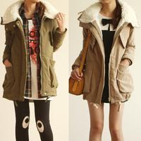 2014 Warm winter women coat long sleeve hooded Parka Jacket outwear fur coat s-xL Multi colors