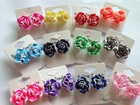 assorted colors 20mm  white-edge polymer clay flower stud earrings wholesale lot #130821-36 new