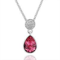 Pink Cameo Jewelry Platinum Plated  Health  Nickel Free Rhinestone Austrian Crystal Pendant Necklace 18KGP N192